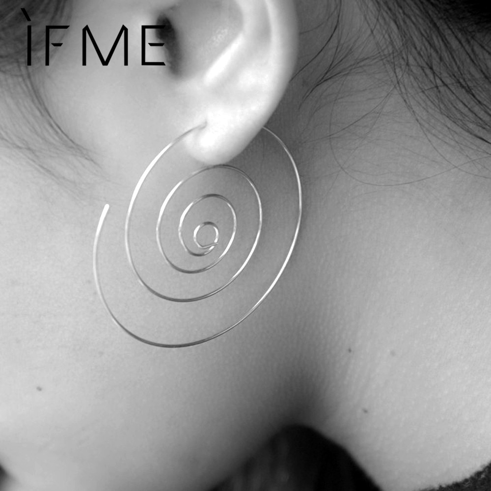 IF ME New Fashion Jewelry Gold Color Spiral Stud Earrings Round aretes Simple Style Silver Color Plugs Earrings Women Piercing