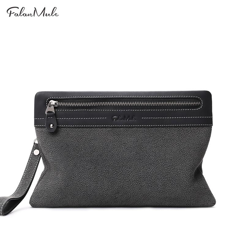 FALAN MULE fashion genuine leather men bag designer brand male clutch casual handbag envelope bags цена