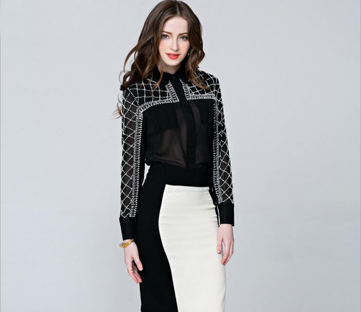 Sexy Beads Perspective Shirt Tops Women Elegant Office Work Turn-down Collar Long Sleeve Blouses Tees