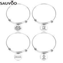 8efba3bd8935 SAUVOO 1 unids lote estilo 14 brazalete ajustable pulseras brazaletes para  mujeres Acero inoxidable expandible encanto grabado p.
