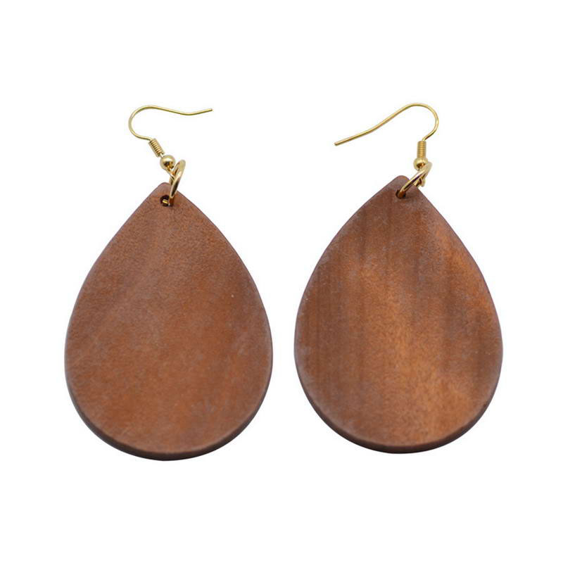 Personalized Monogram Teardrop Wood Earrings for Women 2017 New Fashion Natural Wooden Jewelry
