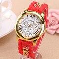 2016 Nueva Marca de Fábrica Famosa Cadena de Aleación de Oro Ginebra Casual Mujeres Del Reloj de Cuarzo de Silicona Relojes de Pulsera Relogio Feminino Venta Caliente