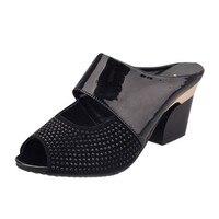 Nouveau Dames Femmes Sandales Couleurs Mélangées Pantoufle Sandales Carré Haute talons Pantoufle Poisson Bouche Chaussures De Mode PU Casual Chaussures de Plage S