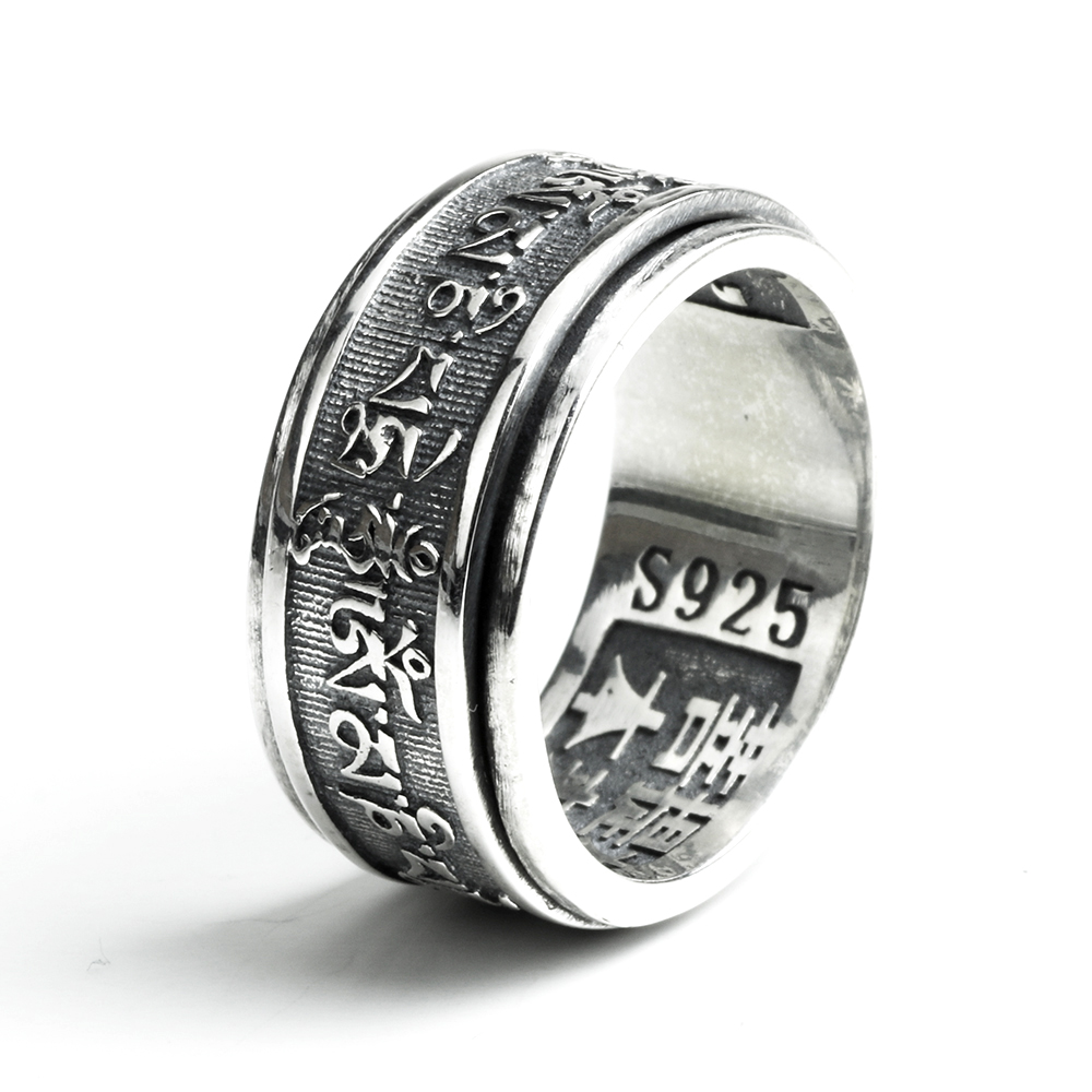 Real 925 Sterling Silver Vintage Rings For Men Rotatable Tibetan Six Words Mantra Rings Om Mani Padme Hum Buddhist Jewelry