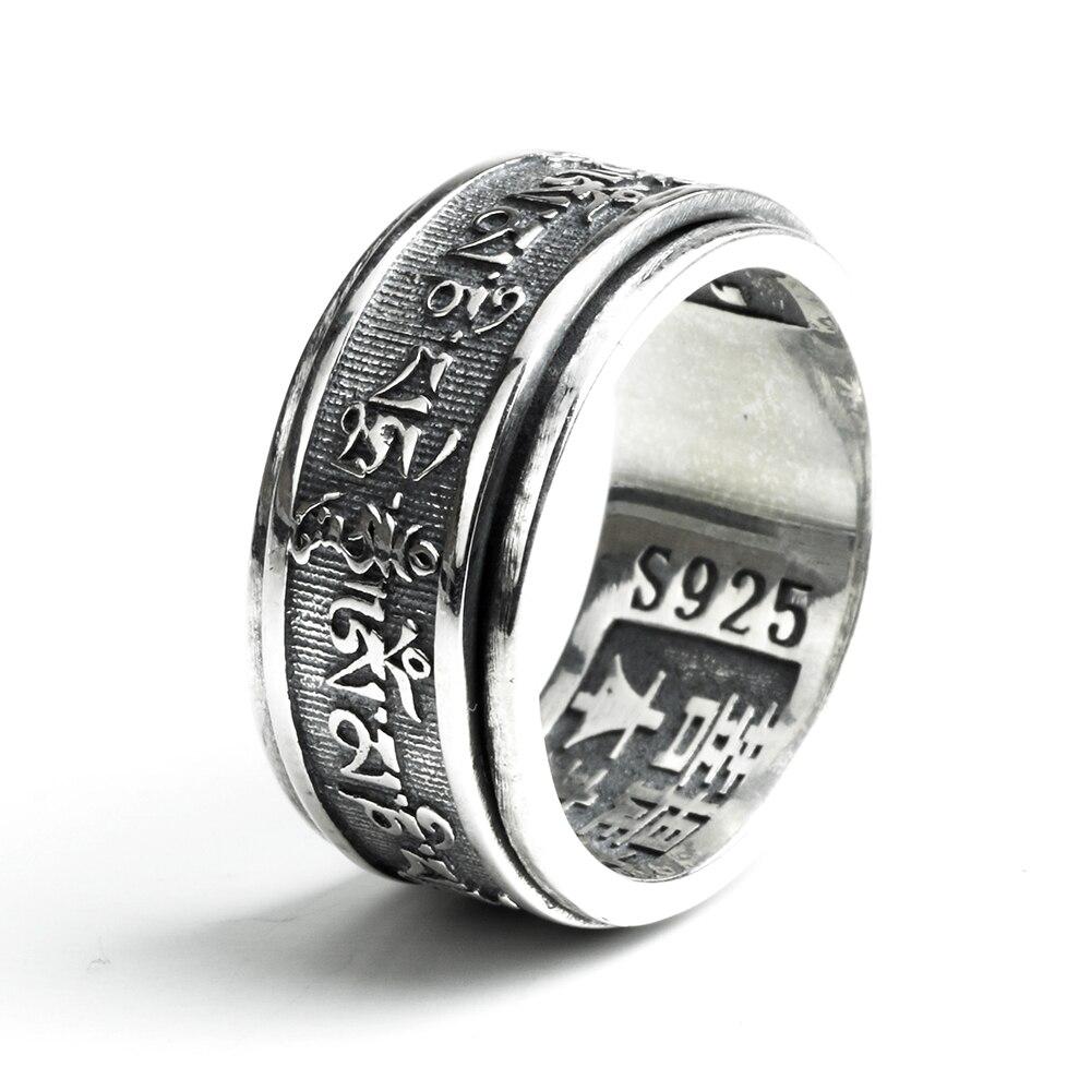 Handmade 925 Sterling Silver Anelli Dell'annata Per Gli Uomini Tibetani Sei Parole Mantra Anelli Gioielli Buddista Om Mani Padme Hum