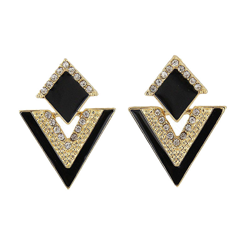 E161 Fashion Jewelry Vintage Brand Crystal triangle Sparkling Multicolor Stud Earrings For Women Free shipping