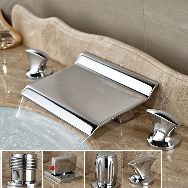 цена на Best quality Deck Mount Bathroom Sink Waterfall Basin Mixer Faucet Dual Handle 3 Holes Chrome Finish