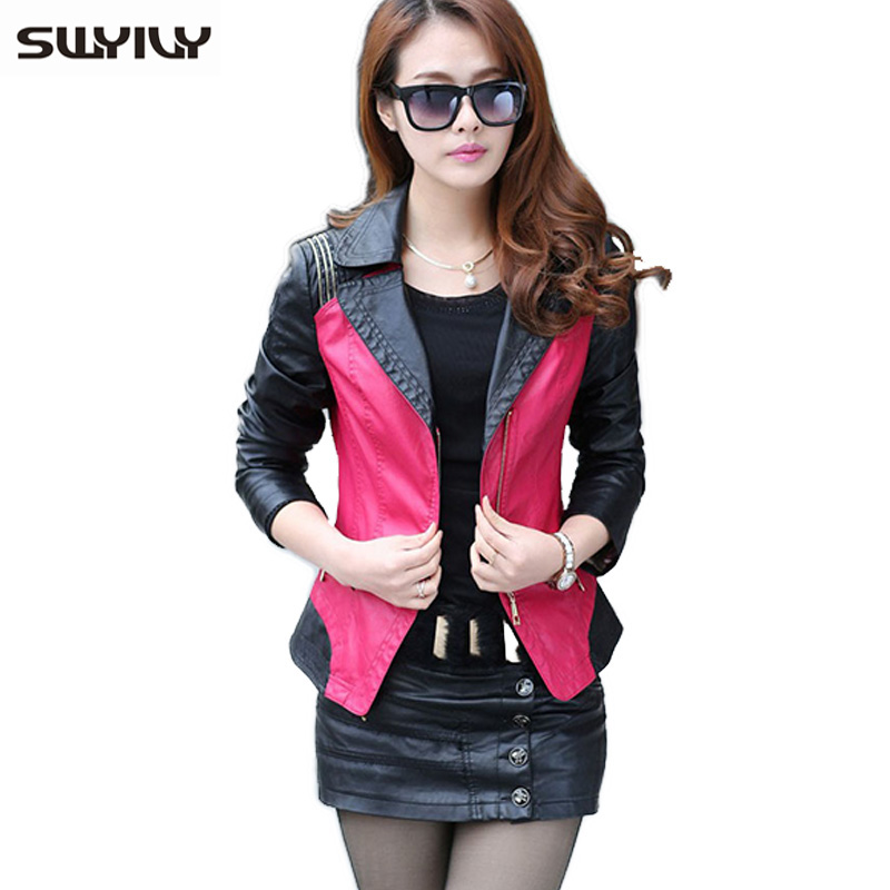 Warm   Leather   Jackets Women Color Block Lady   Leather   Coat 2019 Plus Size 4XL 5XL Female Brief Lapel Coat Embroidery Sleeve