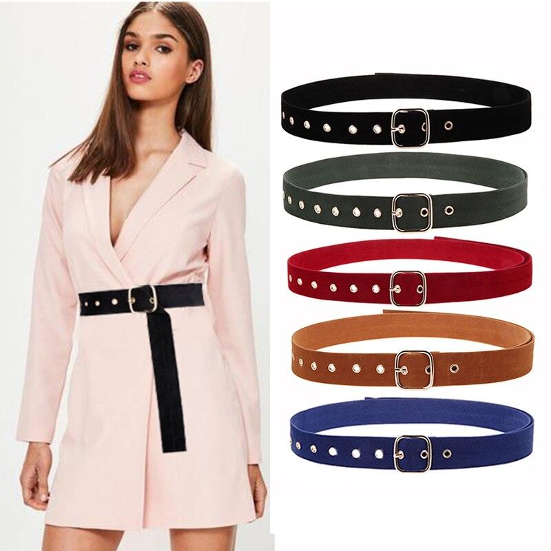 Seabigtoo Soft Velvet Women's   Belt   Retro Silver Metal Pin Buckle   belts   for women dresses vintage   belts   female wide waist band