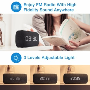 Image 3 - HAVIT Bluetooth Speaker Portable Home Loudspeaker with Digital Alarm Clock 3D Stereo Enhanced Bass Speaker Support FM Radio M29