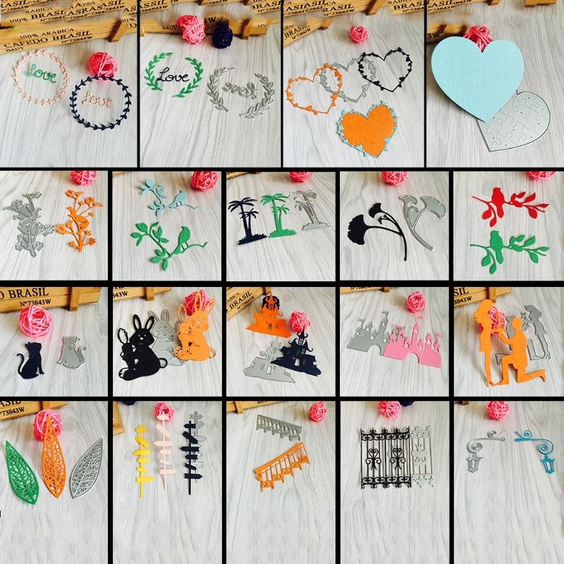 Резки умирает трафарет цветок замок любви Marry Me кролика Кот дорожный знак узор DIY Скрапбукинг Декор тиснение альбом Бумага карты