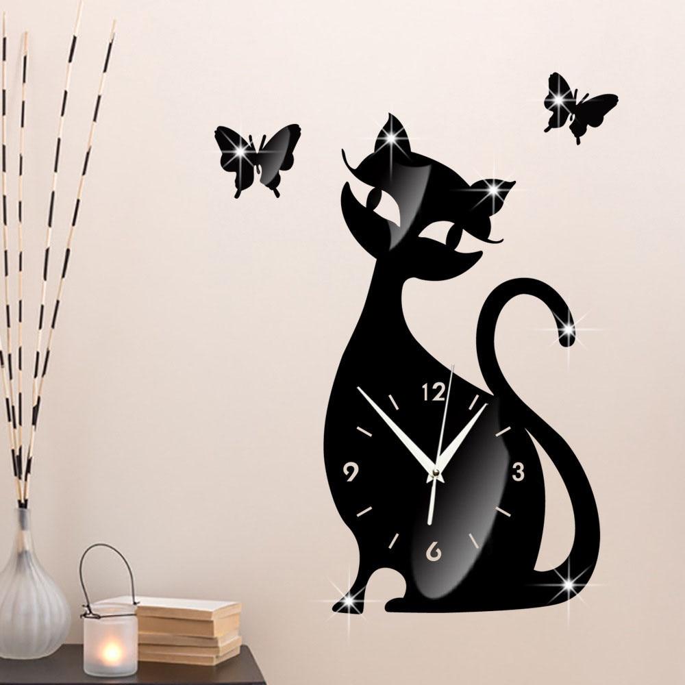 Cero lindo gato mariposa espejo negro Reloj de pared moderno diseño ...
