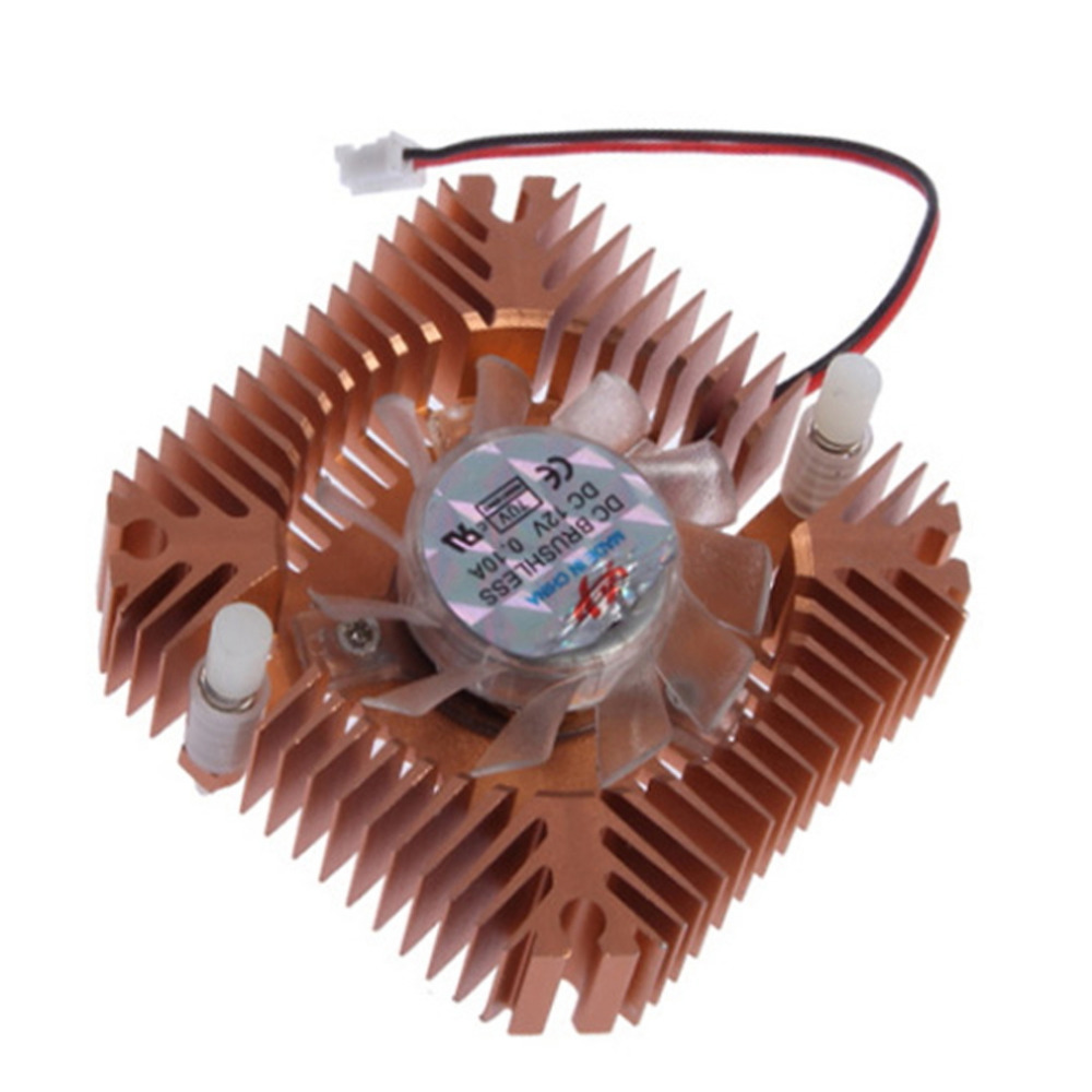 55mm Aluminum Snowhite Cooling Fan Heatsink Cooler for PC Computer CPU VGA Video Card Free Shipping 12v 2 pin 55mm graphics cards cooler fan laptop cpu cooling fan cooler radiator for pc computer notebook aluminum gold heatsink