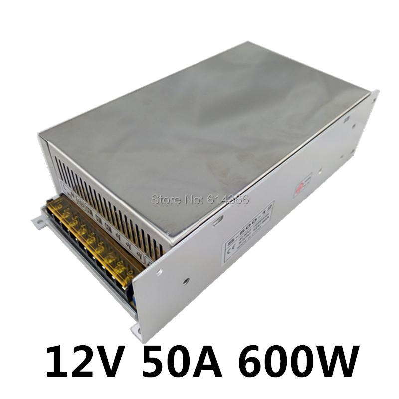 LED CCTV 12V 50A 600W Switching Power Supply Driver for LED Strip AC 100-240V Input to DC 12V 1200w 12v 100a adjustable 220v input single output switching power supply for led strip light ac to dc