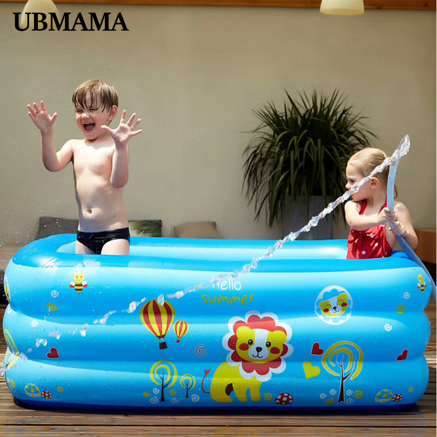 Thickening PVC Plastic Baby Inflatable Pool Inflatable Square Inflatable Bubble Bottom Drain Hole Swimming Pool 130*90*50cm