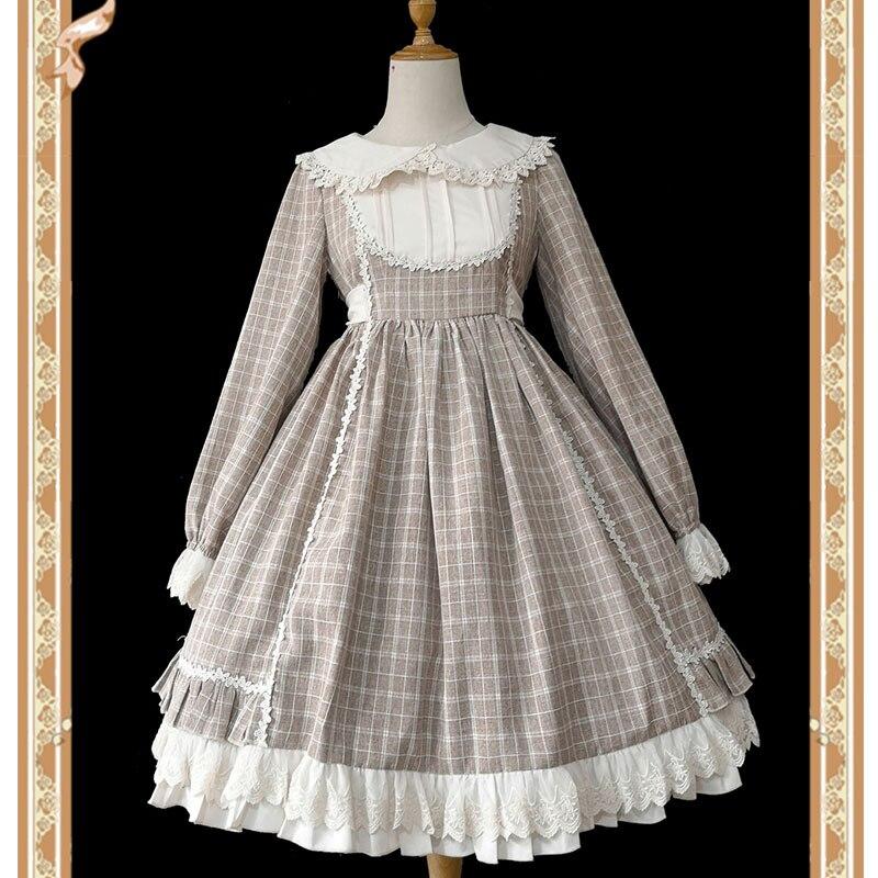 Doris Trip Sweet Long Sleeve Plaid Lolita Dress by Infanta