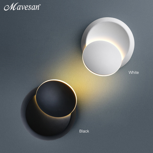 LED קיר מנורת 360 תואר סיבוב מתכוונן המיטה אור לבן ושחור creative מנורת קיר שחור מודרני מעבר עגול מנורה