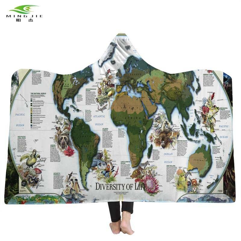 world map hooded printed blanket adults microfiber sherpa fleece ocean blue wearable plush throw. Black Bedroom Furniture Sets. Home Design Ideas