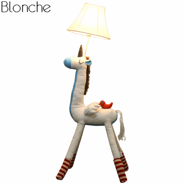 Ins Nordic Unicorn Floor Lamp Creative Kids Room Bedroom Living Room  Princess Modern Led Standing Light Fixtures Home Decor E27