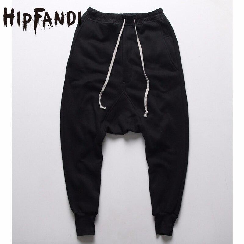 HIPFANDI joggers Casual Trousers Harem Pants Men Black Fashion Swag Dance Drop Crotch Hip Hop Sweat Pants Sweatpants For Men