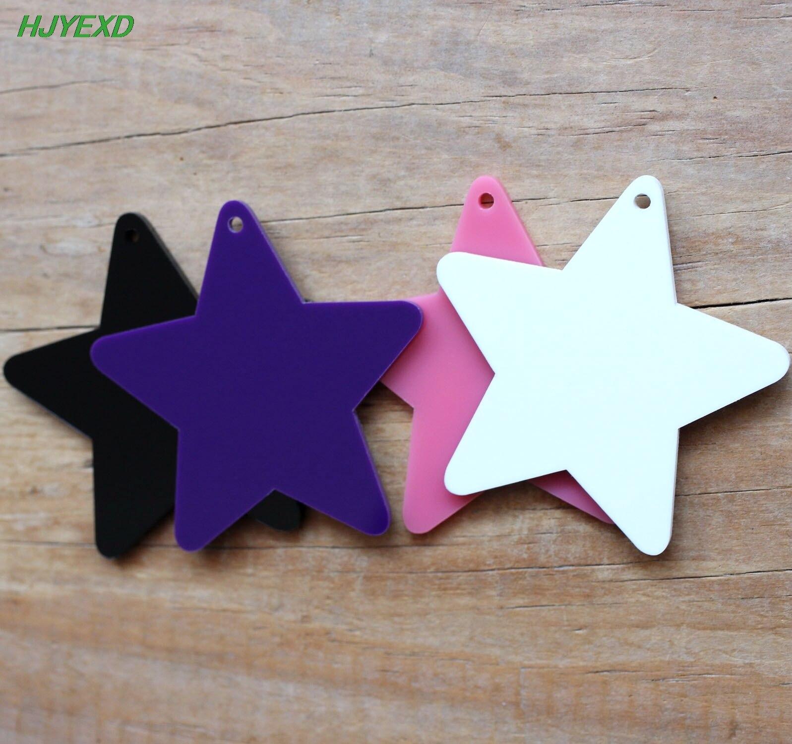 50mm Acrylic Star Keychains Black, White, Pink, Dark Purple Laser Cut Party Ornaments 2