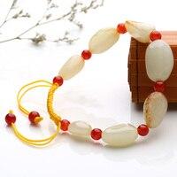 Натуральный Хотан нефрита семян задатки сало нефрита оригинальный камень контактной камень повезло эластичные браслет Модные украшения
