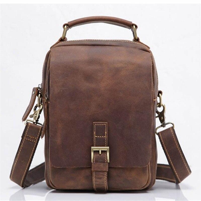 Kingsons Genuine Leather Men Messenger Bag Cow Crossbody Bags Nylon Men's Handbag Carzy Horse Man Flap Shoulder Pocket SDM5066