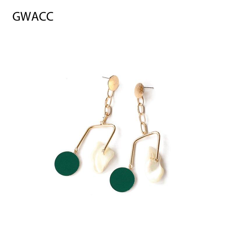 GWACC Original Design Green Color Shell Drop Earrings For Women INS Creative Long Statement Fashion Jewelry Girls boho