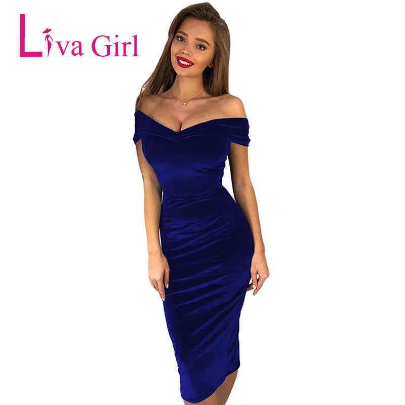 4b3791dfdd6ad LIVA GIRL Chic Velvet Sexy Bodycon Midi Dress Women Off Shoulder Elegant  Ruched Party Dresses Club Black Blue Vestido Mujer 2019