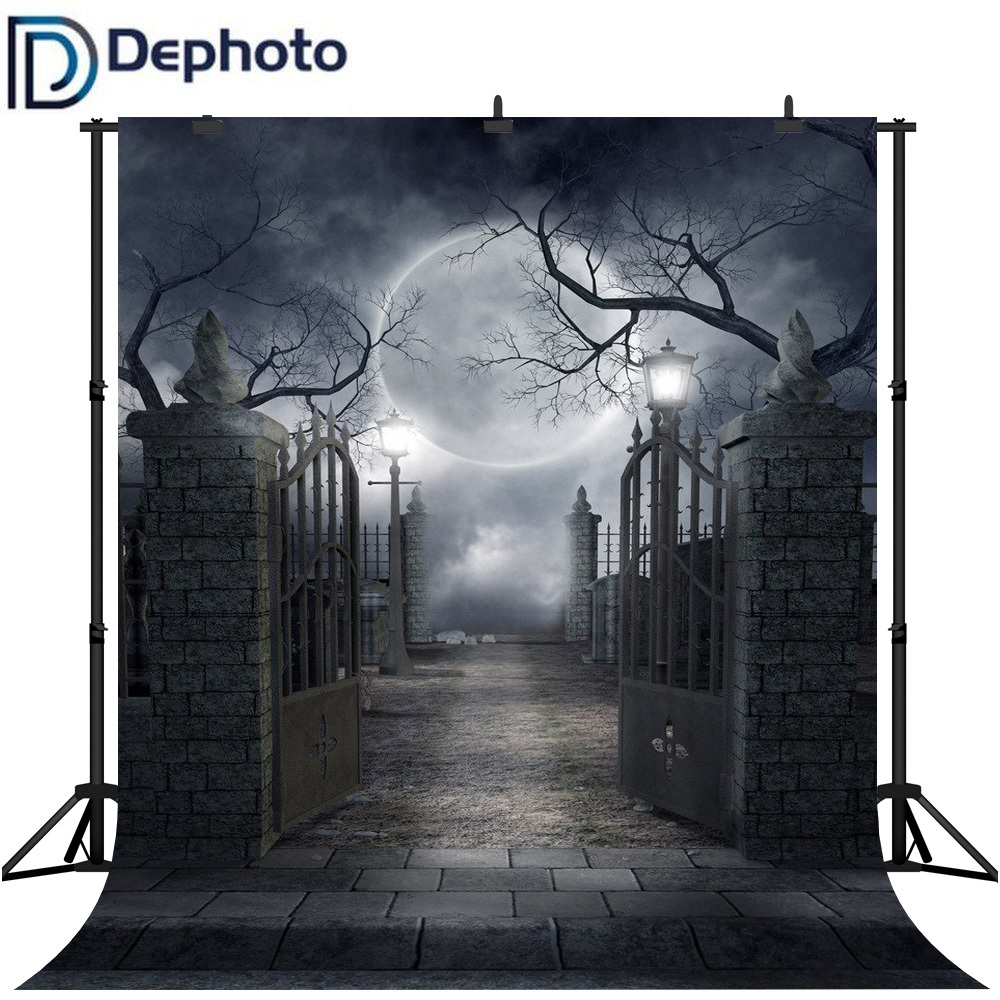Dephoto Seamless Halloween Dark Night Party Photography Backdrops Smokey Black Mist Foggy Iron Gate Spooky Photo Backgrounds in Background from Consumer Electronics