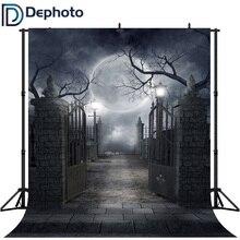 Dephoto Seamless Halloween Dark Night Party Photography Backdrops Smokey Black Mist Foggy Iron Gate Spooky Photo Backgrounds spooky night