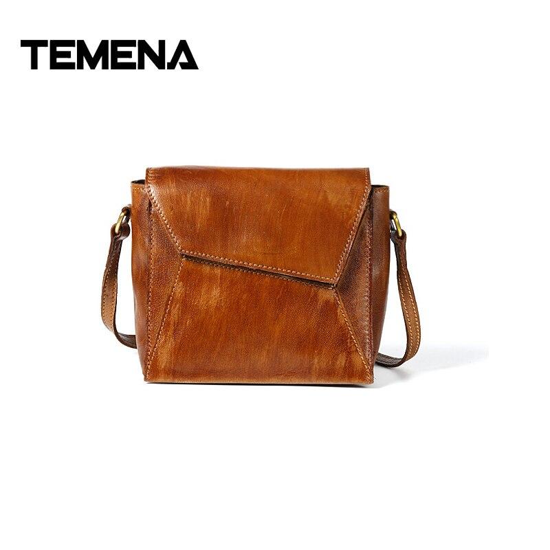Temena Handbags High Quality Cow Genuine Leather Handbags Luxury Brand Ladies Bags For Women 2018 Messenger Crossbody Bag AMB496