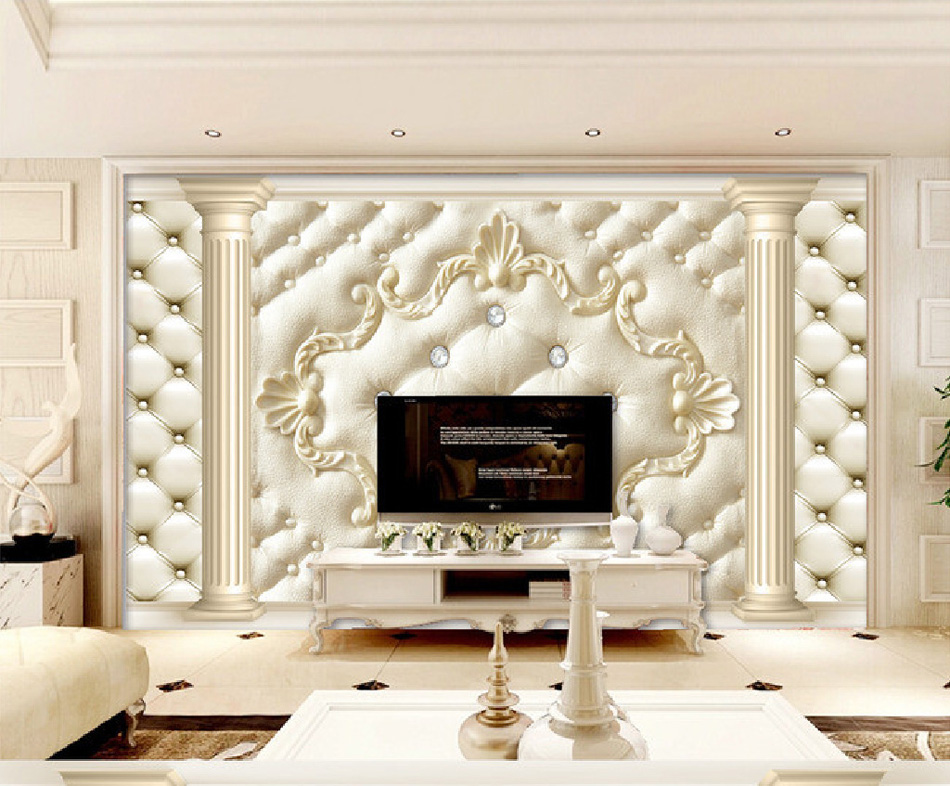 Soft roll classical background 3d wall paper baby room for 3d baby room design