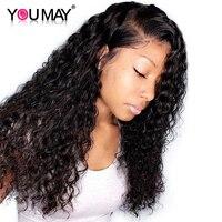Глубокая волна парик человеческих волос парики предварительно сорвал 360 Синтетические волосы на кружеве al парик плотность 150 бразильский