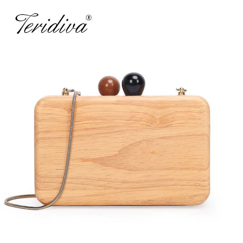 Wallet Women Wood Casual Clutch Evening-Bag Elegant Party Vintage Fashion New-Brand Solid
