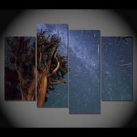 Painting Fashion Canvas Modular Picture Frame 4 Piece Canvas Art Starry Night Meteor Shower Wall Art