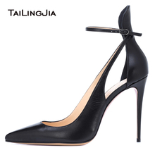 Pointy High Heel Black Pumps Women Stylish Ankle Strap Evening Dress Heeled Shoes Ladies Summer Pointed Toe Party Heels 2018