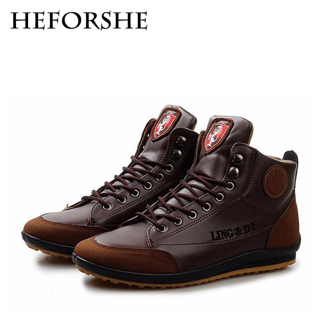 HEFORSHE Men Boots Men's PU Leather Ankle Boots Lace-Up Flat With Spring/Autumn Fashion Boots Patchwork Shoes Size 39-44 MXX002