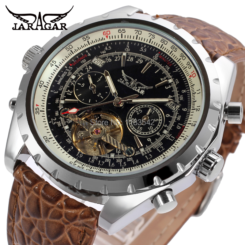 JARGAR Mens watch Luxury Business Brand Automatic Tourbillion Analog Wristwatch Color Brown JAG212M3S5