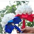 9 Цвета Красивые Искусственные Королевский Синий Свадебный Букет 2016 Зеленая мята Невесты Свадебные Букеты Белый Buque Де Casamento