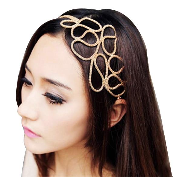 Metallic Gold Braid Braided Hollow Elastic Stretch Hair Band Headband