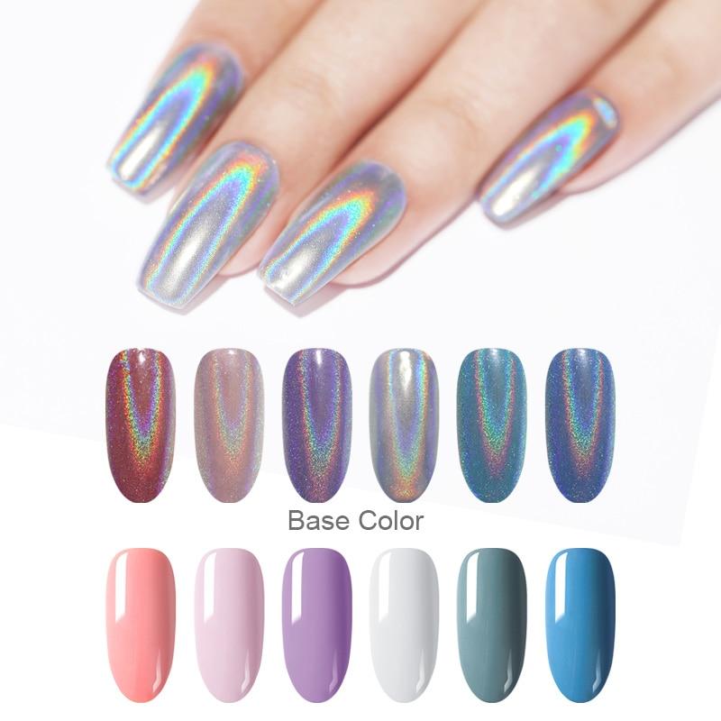 Extra Fine Holographic Chrome Nail Art Powder: 1 Box 0.5G Holographic Laser Rainbow Nail Powder Glitter