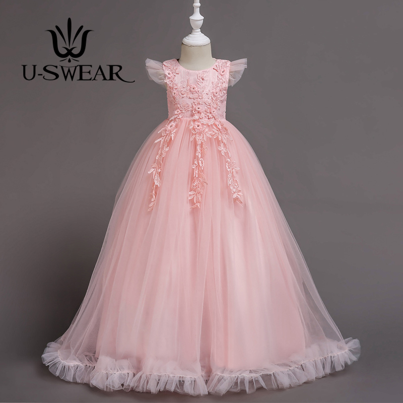 U-SWEAR 2019 New Arrival Kid   Flower     Girl     Dresses   Flora Appliqued Ruffle Side   Flower     Girl   Gown First Communion Party Decorations
