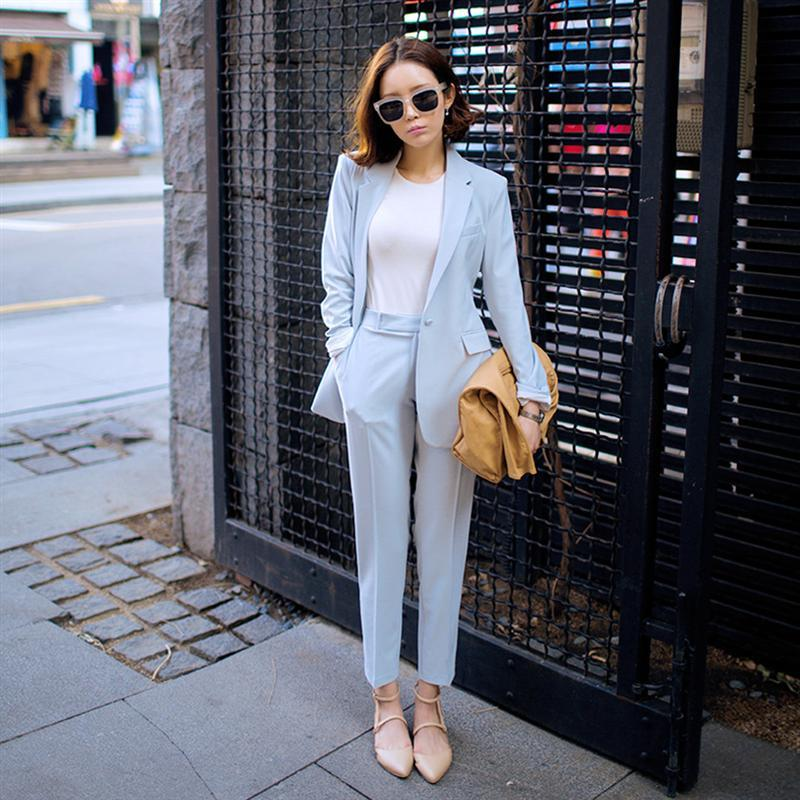 2017 Spring Newon Fashion Womens Leisure Suit Soild Color Suit Jacket And Harlan Pants Light Blue Twinset