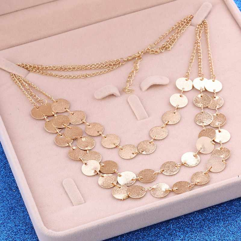 ZOSHI Ethnic Custom Geometric Coin Maxi Necklace Gold Color Chain & Pendants Retro Exaggerated Accessories Jewelry For Women