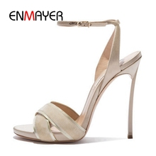 ENMAYER  Lace-Up Ankle Strap PU Gladiator Sandals Women High Heels Open Toe Size 34-43 ZYL2572