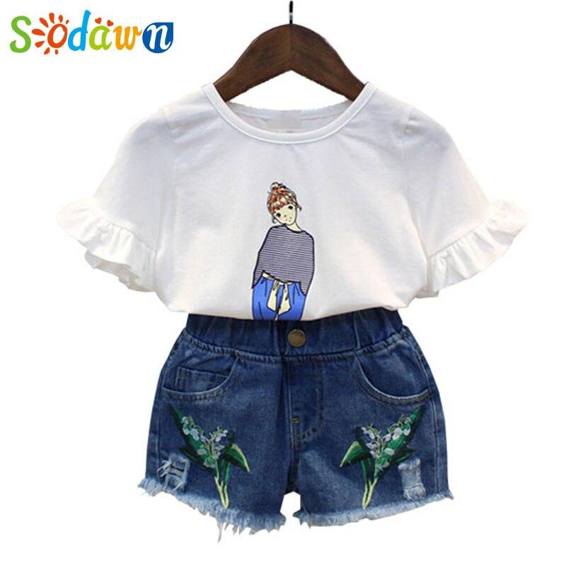 Sodawn 2017NewSummer Girls Clothing Sets Short Sleeve T-Shirt+Embroidery Denim Shorts 2Pcs Girls Clothing For Children Clothes