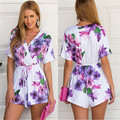 Summer Short Jumpsuit Floral Half Sleeve Flower Print Jumpsuit Overalls Deep Open V neck Fold Lapel Fit Playsuit Rompers