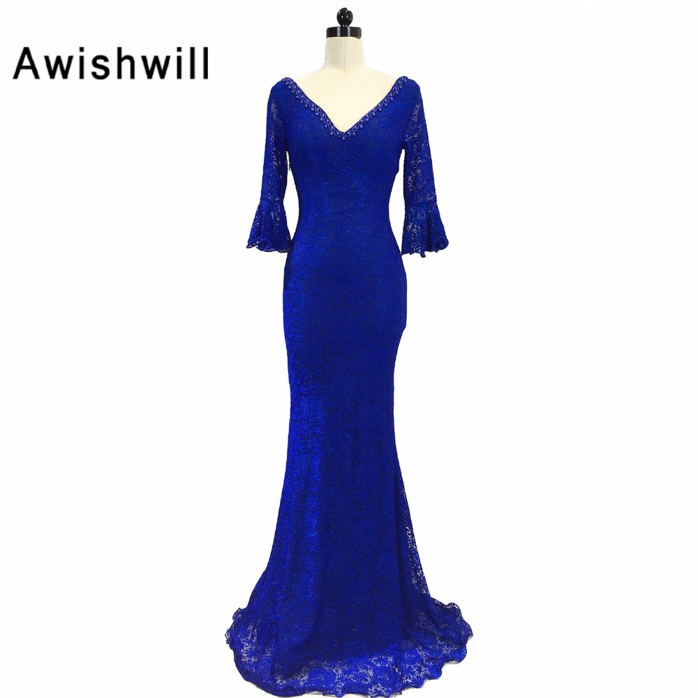 Red   Royal Blue   Black   White 3 4 Sleeves V Neck Long Mermaid Formal  Evening Dresses Lace Prom Gown Open Back Robe De Soiree 937370ed324b