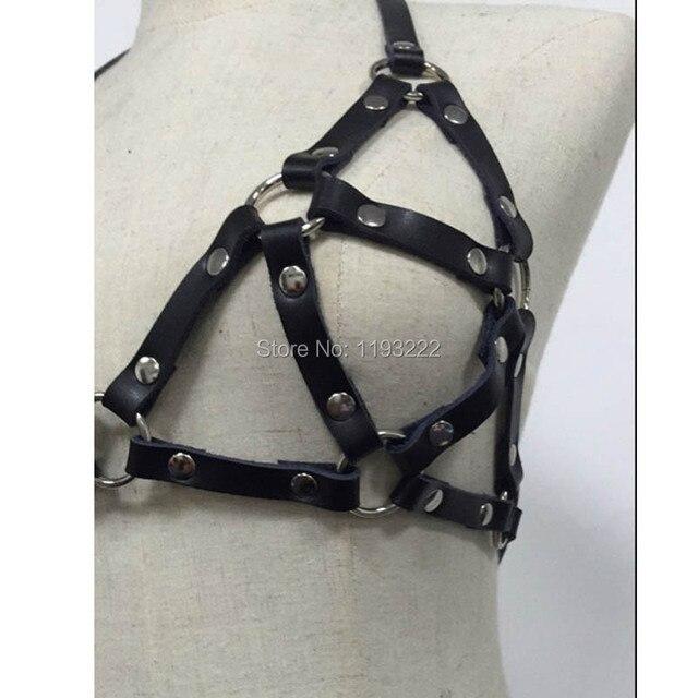 Punk Gothic Women Pub Club Handcrafted Leather Halter Harness Chest Bra Caged Up Belt Straps Brief Underwear